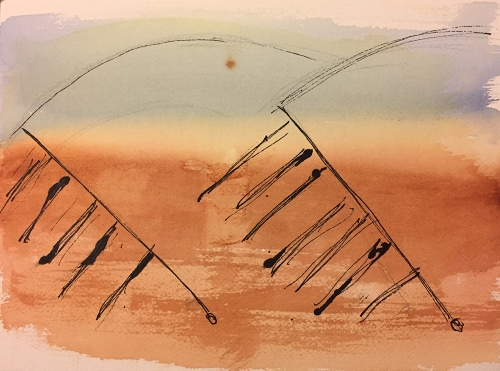 Watercolor: Mars Scape - Mirage