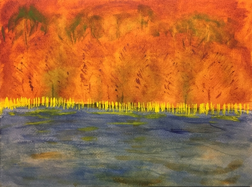 Watercolor: Abstract Expression - Trees and Weed at Night by a Lake