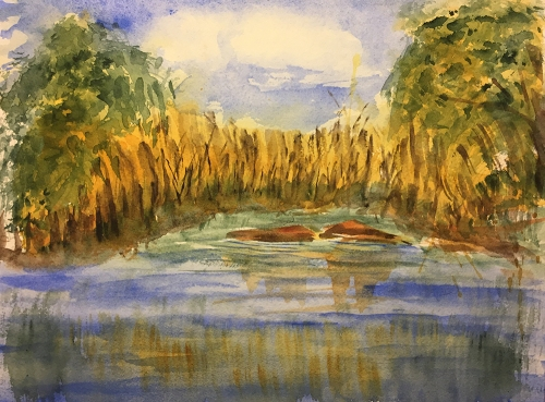Watercolor: Swampy Landscape