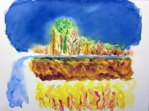 Watercolor: Abstract Expression - Trees Along the World, For the Flat-Earthers