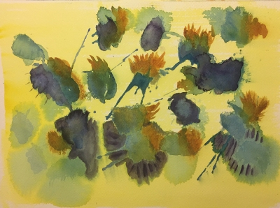 Watercolor: Abstract - Yellow Background, Blue and Purple Spots