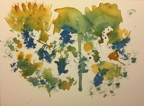 Watercolor: Abstract - Blue Green Yellow Splats