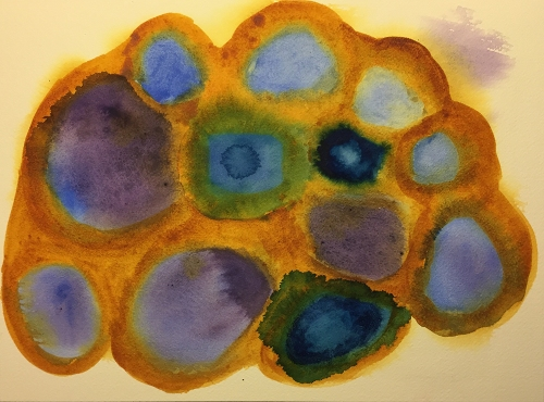 Watercolor: Abstract - P, C Blue & Purple Splats in Q Nickel