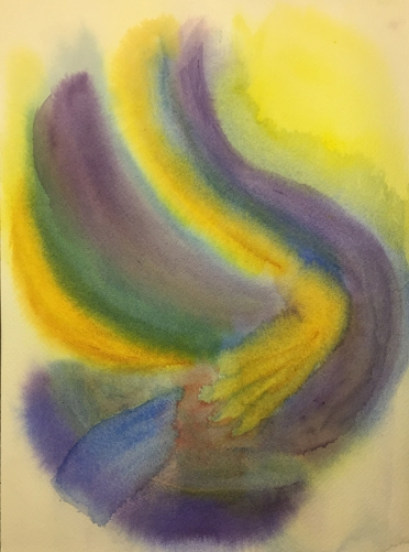 Watercolor: Abstract - Blue Purple Yellow