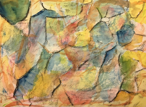 Watercolor and Charcoal on Distressed Paper: Abstract Crumpled Paper 012417