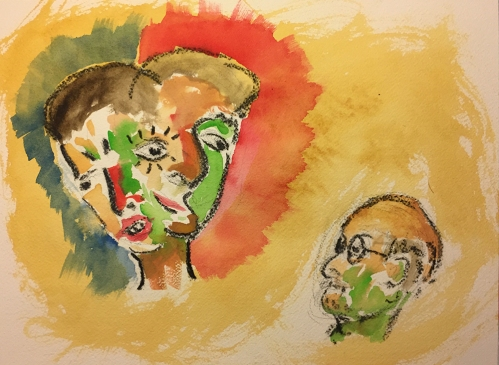 Watercolor: Abstract - Imaginary Brother with Self Portrait