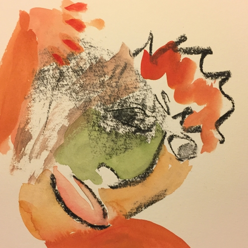 Watercolor: Abstract - Inspired by de Kooning