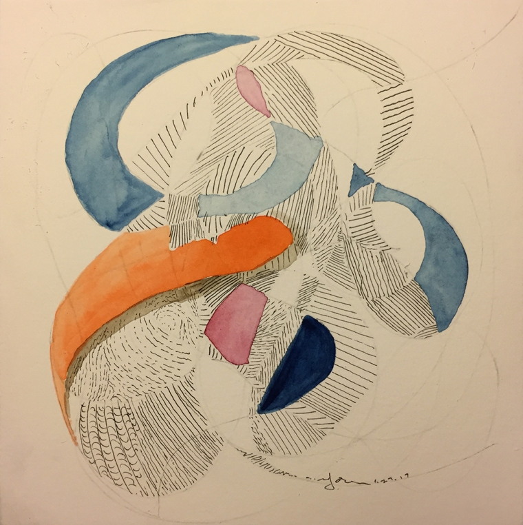 Watercolor: Abstract - Erased, Free Form with Pen and Ink