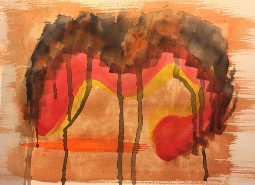 Watercolor: Abstract - Vermilion on White with Iron