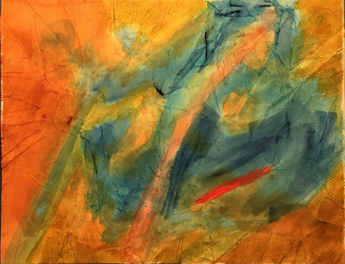Watercolor: Abstract on Distressed 90# Watercolor Paper 020317