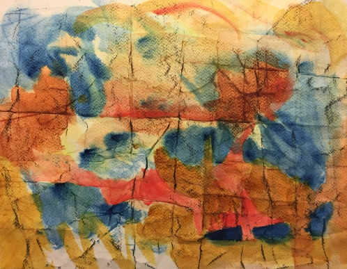 Watercolor: Abstract - Folded, Crumpled Paper