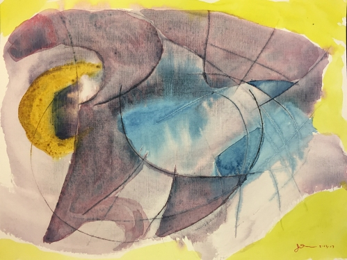 Watercolor: Abstract on Scored Heavy Linen Finish Paper