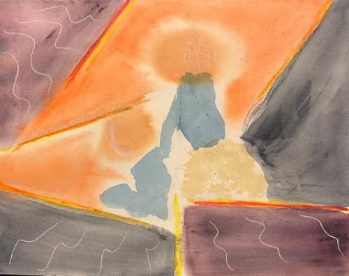 Watercolor: Abstract - Palimpsest, Sister and Brother
