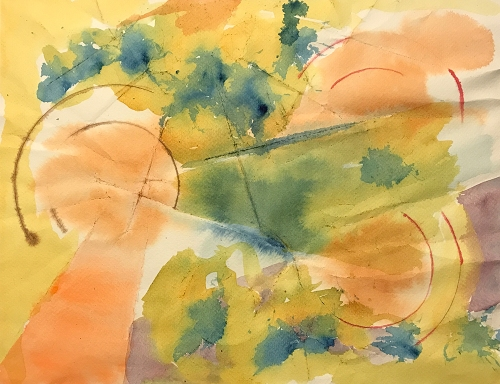 Watercolor: Abstract - Circles and Lines on Folded Paper