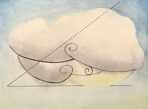 Watercolor and Pen and Ink Sketch - Abstract Clouds