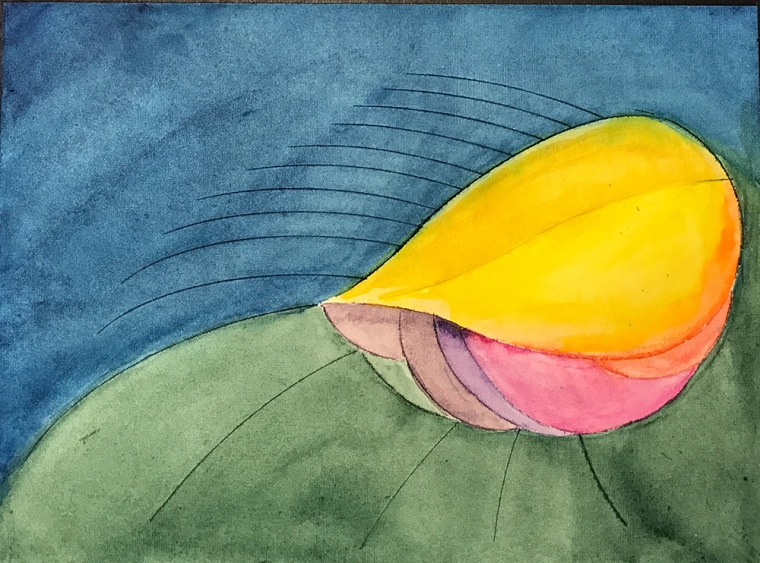 Watercolor: Abstract - Leaf/Shell