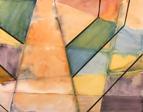 Watercolor and Charcoal: Abstract Pyramid 021817