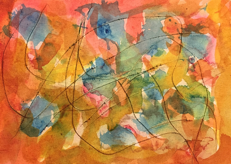 Watercolor: Abstract with Scratches and Charcoal