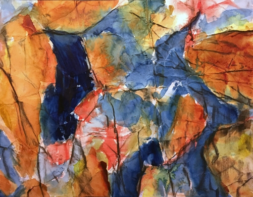 Watercolor: Automatic Abstract on Folded, Scrunched Paper