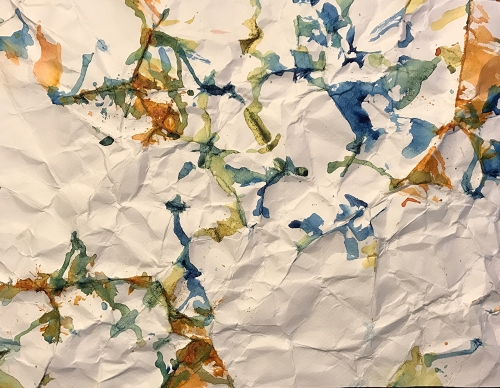 Watercolor: Abstract - After Simon Hantai - Crumpled Paper Painting