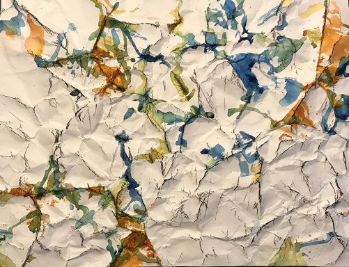 Watercolor: Abstract - After Simon Hantai - Crumpled Paper Painting with Charcoal