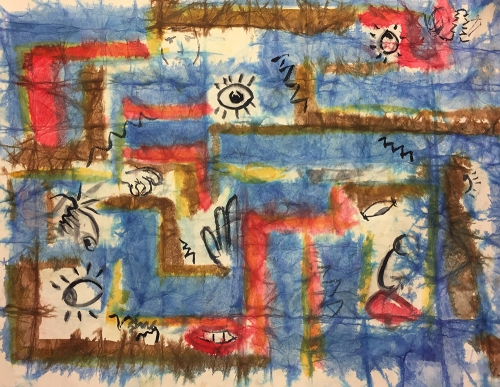 Watercolor: Abstract on Distressed 138# Mixed Media Paper 020217