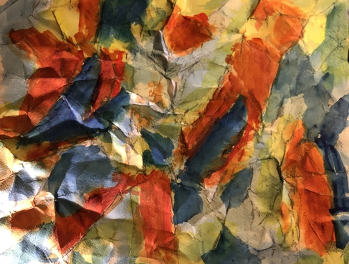 Watercolor: Abstract on Folded, Scrunched Paper