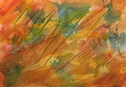 Watercolor: Abstract - Scratched Paper #1