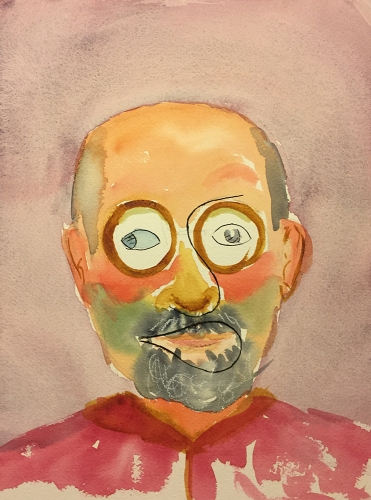 Watercolor: Self Portrait with Icon #2