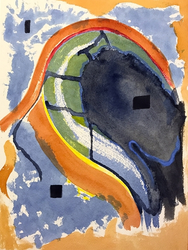 Watercolor: Abstract - Pale Blue & Orange