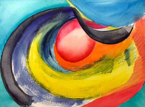 Watercolor: Abstract - Yellow and Red