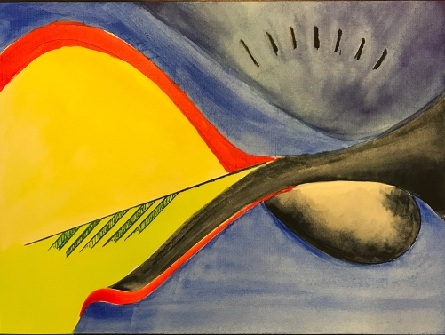 Watercolor: Abstract with Arrow