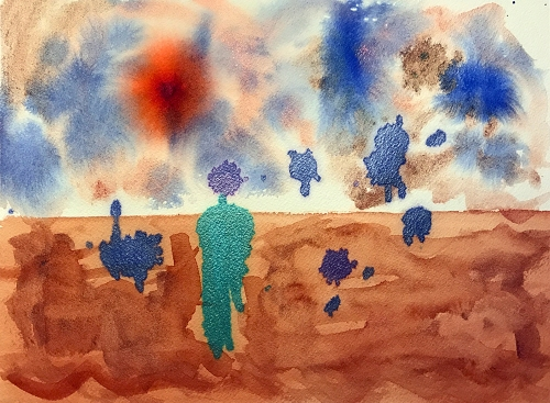 Watercolor: Abstract - Alien Landscape with Blots