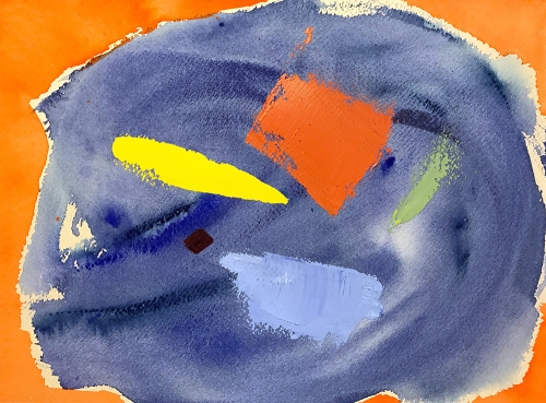 Watercolor: Abstract - Blue & Orange