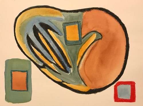 Watercolor: Abstract - Three Squares