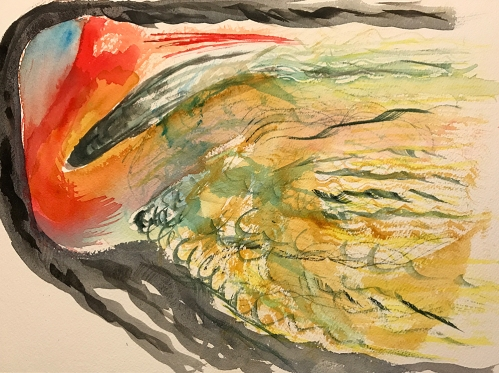 Watercolor: Abstract - Bird with Turbulence
