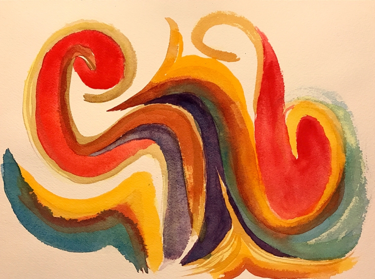 Watercolor: Abstract - Flames (?) 040917
