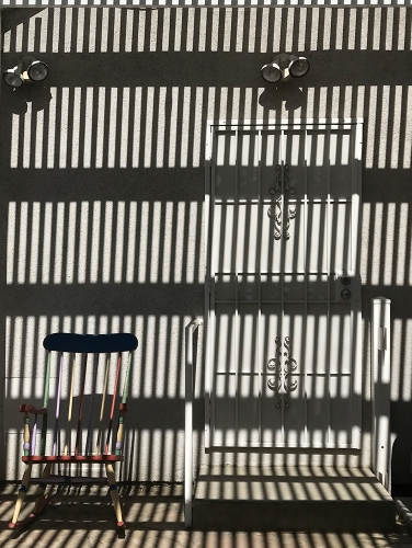 Photograph: Mid-day Sun, Awning Slats and Rocker