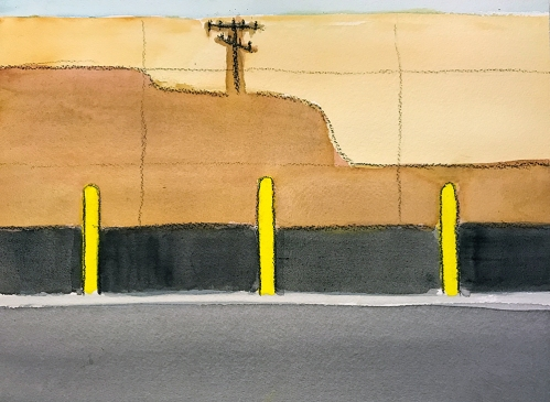 Watercolor: Abstract - Telephone Pole Shadow 043017