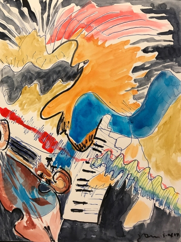 Watercolor and Ink: Jazz Club