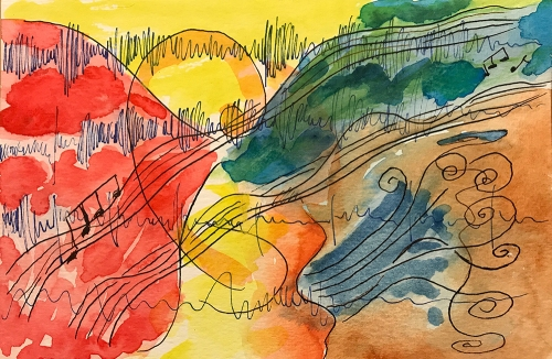 Watercolor and Ink: Abstract - More Music