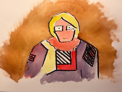 Watercolor and Ink: Woman in Casual Dress - After Klee's Woman in Peasant Dress