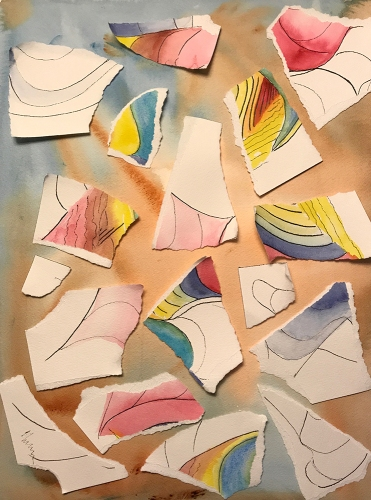 Watercolor: Collage - Scrapped 9x12 Abstract