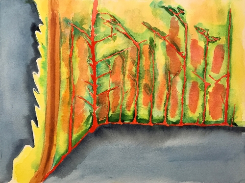 Watercolor: Abstract - Leaf or Trees 062817