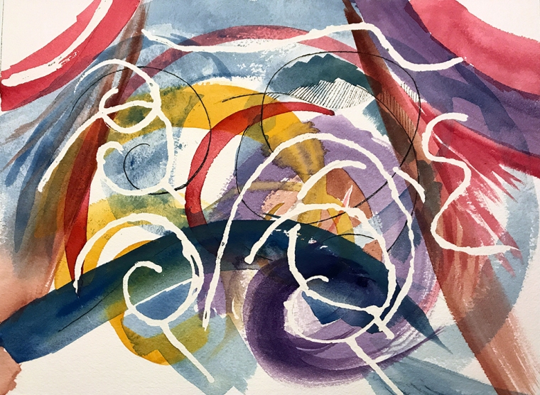 Watercolor: Abstract - White Spirals, Ink and Watercolor 7-20-17