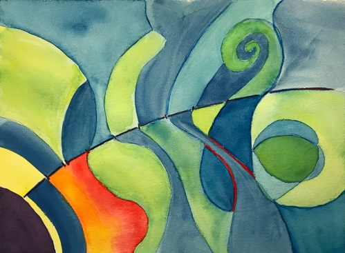 Watercolor: Abstract- Bergsonian Time Line 072217