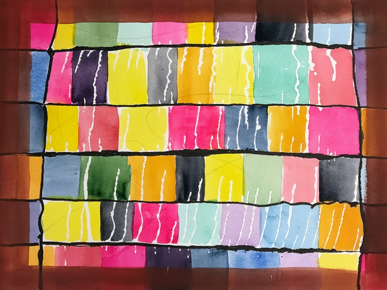 Watercolor: Abstract - Color Patches, Inspired by Paul Klee 071617