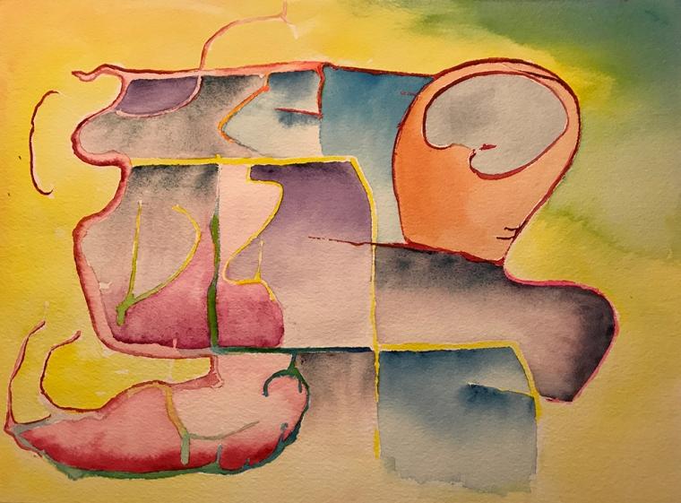Watercolor: Brain Looking at Organic Self 070817
