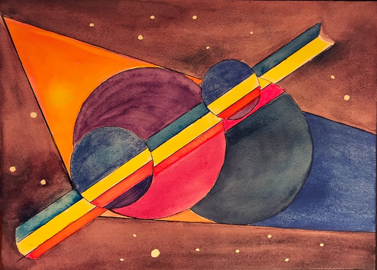 Watercolor: Abstract - Rainbow in Outer Space 070217