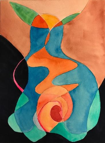 Watercolor: Abstract - Samurai Shadow Warrior 73017